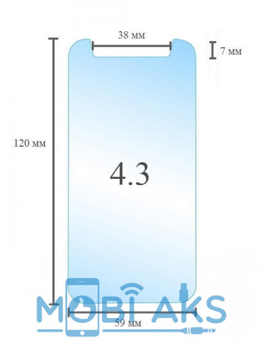 Универсальное защитное стекло 4.3 дюйма