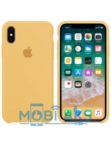 Чехол Silicone case (силикон кейс) для iPhone X/XS Gold