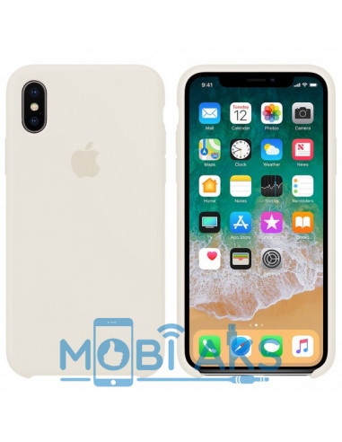 Чехол Silicone case (силикон кейс) iPhone X/XS White (белый)