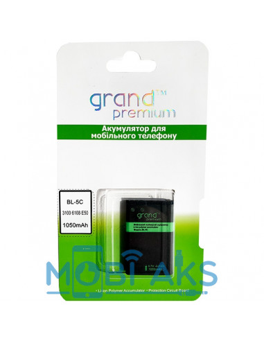 Аккумулятор Grand Premium Nokia BL-5C (Nokia 1112, Nokia 1200, Nokia 1208)